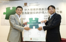 Professor Tony SK MOK (left), Professor, and Dr. KC LAM, Clinical Assistant Professor (honorary) of the Department of Clinical Oncology, CUHK, put togther a puzzle, symbolizing lung cancer treatment will be tailor-made for patients as personalized treatment