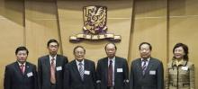 左起:张运院士、孙九林院士、卢世璧院士、中大副校长黄乃正教授、李德仁院士,以及石立英女士