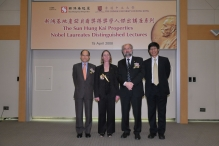 (左起)新地執行董事黃奕鑑先生、內爾教授伉儷,以及中大副校長楊綱凱教授