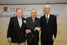 Three world renowned economists give inaugural lectures for CUHK Institute of Global Economics and Finance. They are Prof. Robert A. Mundell, Prof. Lawrence J. Lau and Prof. Joseph Yam (from left).
