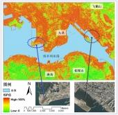 圖2 香港九龍港島地區不透水層衛星遙感監測 (2003年10月) 利用2003年10月18日SPOT 5衛星遙感圖像,獲取的香港維多利亞港兩岸城區不透水層百分比 (impervious surfaces percentage, ISP) 資料,位於九龍和港島的大部分城區具有很高的不透水層百分比,基本在60%以上,而位於圖像底部和右上角的郊野區域則低於40%。那些具有高ISP的城市地區,人居環境品質、城市排污以及防洪洩洪將受到嚴重影響。