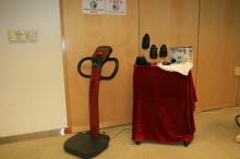 Research products (from left) Interactive Weightbearing Exercise Platform (iWE platform), Fall Prevention Shoes and Hip Protector