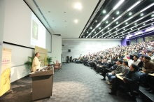 The lecture is warmly received with a full house of 350 audience