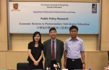 Prof. Chung Yue-ping (middle), Department of Educational Administration and Policy, Faculty of Education, and his research assistants, Candy Ko Yuk-lin (left) and Ricky Cheng Kwan-kit