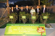 (From left) Mrs. Annie Lee Liang; Mr. Thomas Liang; Dr. Tzu-leung Ho; Dr. David Ho; Mrs. Ho Tim; Mr. Hamilton Ho, Trustee of Chan Chun Ha Charitable Trust; and Mr. Lin Chung-pak officiate at the Tree Planting Ceremony.