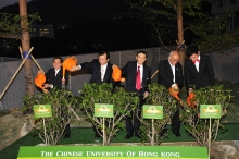 (From left) Dr. Tzu-leung Ho; Prof. Benjamin Wah, Acting Vice-Chancellor; Dr. Vincent Cheng; Prof. Samuel Sun; and Mr. Wayne Hung, student representative of the College, water the trees after they are planted.