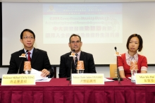 (From Left) Prof. Michael Chi Fai TONG, Professor, Department of Otorhinolaryngology, Head and Neck Surgery; Prof. Charles Andrew VAN HASSELT, Professor of Surgery (Otorhinolaryngology) and Chairman, Department of Otorhinolaryngology, Head and Neck Surgery; and Miss Iris Hoi Yee NG, Professional Consultant, Department of Otorhinolaryngology, Head and Neck Surgery, CUHK.