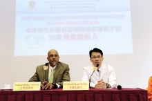 Prof. Shekhar Madhukar KUMTA, Professor, Department of Orthopaedics and Traumatology (left); and Dr. Kwok Chuen WONG, Clinical Assistant Professor (honorary), Department of Orthopaedics and Traumatology, CUHK present their recent research on Computer Assisted Tumor Surgery for Bone Cancer Patients.