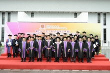 (Front row from left) Prof. Hau Kit-tai, Prof. Xu Yangsheng and Prof. Jack Cheng, Pro-Vice-Chancellors; Prof. Joseph Sung, Vice-Chancellor; Dr. Vincent Cheng, Council Chairman; Prof. Benjamin Wah, Provost; Prof. Ching Pak-chung, Prof. Michael Hui and Prof. Henry Wong, Pro-Vice-Chancellors; take a group photo with the awardees of University Education Award 2012, Vice-Chancellor's Exemplary Teaching Award 2011, Young Researcher Award 2011 and Postgraduate Research Output Award 2011.