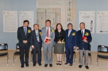 The opening ceremony of the 'From the Treasure House: Jewels from the Library of The Chinese University of Hong Kong' Exhibition. (From left) Prof. Shun Kwong-loi, Director, Institute of Chinese Studies; Prof. Hau Kit-tai, Pro-Vice-Chancellor; Prof. Joseph Sung, Vice-Chancellor; Ms. Louise Jones, University Librarian; Mr. Christopher Mok, Chairman, Advisory Committee of the Art Museum; and Prof. Peter Lam, Director, Art Museum, CUHK.