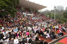 3,000 CUHK students, staff and alumni witness the kick-off of 50th anniversary celebrations of the University at Lingnan Stadium.