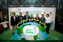 The opening ceremony of the Environment Fair 2013, CUHK Jockey Club Initiative Gaia. (From left) Prof P C CHING, Pro-Vice-Chancellor of CUHK and Chairman of the Steering Committee of Gaia; Mr Angus HO, Executive Director, Greeners Action; Prof Joseph J Y SUNG, Vice-Chancellor and President of CUHK; Ms Christine LOH, Under Secretary for the Environment, The Government of Hong Kong SAR; Mrs Mimi CUNNINGHAM, Director, Human Resources and Sustainability of The Hong Kong Jockey Club; Dr Rebecca LEE, Founder, Polar Museum Foundation; and Ms LI Sui Wah, Principal, Clementi Secondary School.