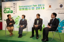 (From left) Ms Christine LOH, Dr Rebecca LEE and Mr Angus HO share their ideas on green living.