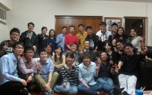 Prof. Shaw Pang-chui (middle) invites his students and research team members to his home to celebrate Chinese New year.
