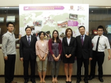 Mr. Leung Yu Chiu Raymond, Director of Student Affairs, CUHK (2nd left); Mr. Hung Fan Fung Samuel, Head of Career Planning and Development Centre (2nd right) and five CUHK students who had participated in GIP this summer: Mr. Xu Kuo Richard, Miss Li Weijia Cindy, Miss Cheung Miu Ling Christine, Miss Chan Yuk Kwan Zita and Mr. Lok Ki Hei Vincent (from left).