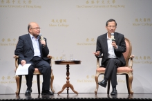 A  dialogue between the Honourable Jasper Tsang  (right)  and Mr. Ivan Choy, Senior Lecturer, Department of Government and Public Administration, CUHK.