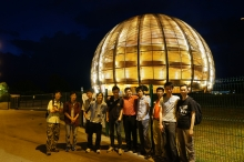 Members of CUHK Physics Department pose for a group photo in front of the Globe of Science and Innovation, a landmark of CERN. From left to right: Chan Yat Long (Research Assistant), Cheng Hok Chuen (alumnus), Lo Kin Ho (alumnus), Tsui Ka Ming (MPhil student), Tam Pok Ho (undergrad), Luis Flores Castillo (Assistant Professor), Lu Haonan (PhD student), Charles Young (Adjunct Professor), Chow Yun Sang (undergrad), and Chu Ming-chung (Professor).