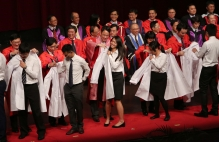 In the inaugural 'White Coat Ceremony', over 200 medical freshmen are conferred white coats, signifying their entrance into the medical profession.