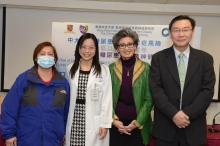 (From right) Prof. Yun Kwok WING, Professor of Department of Psychiatry; Prof. Juliana Chung Ngor CHAN, Chair Professor of Medicine and Therapeutics and Founding Director of Hong Kong Institute of Diabetes and Obesity; Dr. Rose Zhao Wei TING, Honorary Clinical Assistant Professor of Hong Kong Institute of Diabetes and Obesity at CUHK ; and Joey, a patient suffering from both diabetes and depression.
