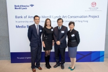 (From left) Prof. Josh Yiu, Associate Director of the Art Museum, CUHK; Ms. Lilian Chong, Asia Pacific Head of Corporate Social Responsibility of Bank of America Merrill Lynch; Prof. Leung Yuen Sang, Director of the Institute of Chinese Studies, CUHK; Prof. Jenny F. So, Director of the Art Museum.