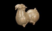 Crouching goat with celadon glaze Western Jin (265-316) Jiurutang Collection