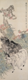 Three Rams Ren Yi (1840-1895), dated 1878 Hanging scroll, ink and colour on paper Tianminlou Collection