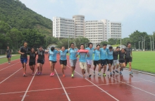 New students of the Exercise Science and Health Education Progarmme sprint to the finishing line side by side.