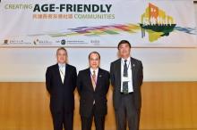 研討會開幕典禮由香港特區政府勞工及福利局局長張建宗先生(中)、香港賽馬會副主席周永健先生(左)及中大校長沈祖堯教授主禮。