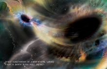 LIGO直接探測到兩個黑洞在合併時所產生的重力波(相片來源:Aurore Simonnet, E/PO Sonoma State University)