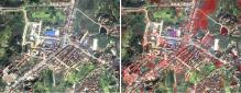 举水河流域局部地方淹没前后对比分析,上图右侧红色区域为洪水淹没区。