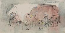 乡村生活 1962年 墨、水彩纸本 艺术家惠赠