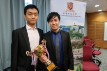 The project of 'the Continuous Blood Pressure Monitoring System from Face Recognition' by LO Po Wen (right) and WANG Chaoqun from the Department of Electronic Engineering wins a First-Class Award of Information Technology.