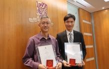 2015年校長模範教學獎得獎人王海嬰教授(右)及唐錦騰教授分享教學經驗。