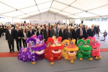 Five lions bring good luck and fortune to the construction work of The CUHK Medical Centre.