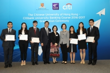 Prof. Kalok Chan, Dean of CUHK Business School (fourth from left) and Wei Lun Professor of Finance; Prof. Wong Suk-ying, Associate Vice-President of CUHK (middle); Ms Angel Ng, Country Business Manager, Hong Kong, Citibank Global Consumer Banking (sixth from left) ; and six students who won this year's Outstanding Achievement Award pose for a group photo. From left to right, the students are: Chuen Ga-hou [Quantitative Finance (QFN), Year-3], Christie Leung Sik-yin (Global Economics and Finance, Year-2), Wallace Lee Siu-fung (QFN, Year-2), Helen Chung Tsz-shan [Professional Accountancy (PACC), Year-4], Chloris Yeung Ho-ching (PACC, Year-3) and Sebastien Yang Chih-chun (Global Business Studies, Year-3).