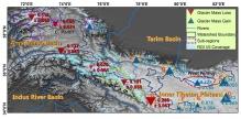 喀喇昆仑与周边地区2000至2014年间冰川质量平衡(水当量·米/年)。