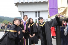 Prof. Joseph Sung shares the joyful moment with graduates.