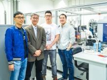 Prof. Kam Bo Wong and his research team. (From Left) Yap Shing Nim, Kam Bo Wong, Man Hon Yuen, and Yu Hang Fong.