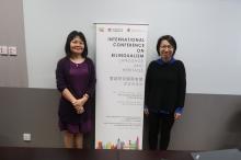葉彩燕教授 (左) 及麥子茵教授介紹劍橋大學-香港中文大學雙語研究聯合實驗室將於12月18-19日在中大舉行的「雙語研究國際會議:語言與傳承」上成立。
