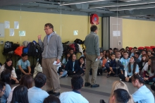 Professor Rocky S. Tuan talks to students participating in the CLOVER Programme to show his support