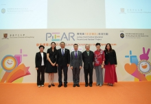 Professor Rocky S. Tuan (3rd left), Mr. Leong Cheung (4th right), Professor Chi-yue Chiu (3rd right) have a group photo with members of the JC-PEAR Project Management Committee including Ms. Carol Kwong (1st left), Dr. Carmen Yau (2nd left), Professor Shui Fong Lam (2nd right) and Ms. Bik-kwan Ip (1st right)