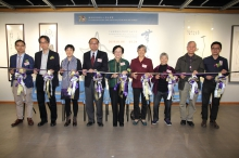 (From left) The ribbon cutting guests include: Dr. Phil Chan, Painting and Calligraphy Research-Assistant Curator of the Art Museum, CUHK; Prof. Harold Mok, Chair of the New Asia College 70th Anniversary Sub-committee on Exhibitions and Souvenirs, and Professor of the Department of Fine Arts; Prof. Xu Xiaodong, Associate Director of the Art Museum, CUHK; Prof. Henry Wong, Head of New Asia College, CUHK; Prof. Mayching Kao, Honorary Fellow of CUHK, Honorary Fellow of New Asia College and Former Director of Art Museum, CUHK; Ting Lan-sai;  Ting Lai-ka; Prof. Lee Yun-woon, former Chair of the Department of Fine Arts, CUHK and Mr. Lo Kwan-chi, Associate Chairman of The Alumni Association of the Fine Arts Department, CUHK.