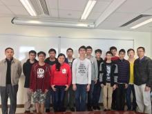Professor Jun Zou, Chairman of the Department of Mathematics, CUHK (1st left), Dr. Chi-him Lau, Lecturer (1st right), and the mathematics students who participated in the Competition.
