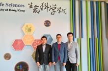 陳浩然教授(中)與管進教授(右)和敖志祺教授。