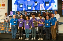 The CUHK Programming Team receives the bronze medal at the 43rd Annual World Finals of the International Collegiate Programming Contest.  Front row: Poon Lik-Hang (2nd from left), Ho Ngan-Hang (3rd from left), Yik Wai-Pan (4th from right) and the coach Prof. Chan Siu On (3rd from right)