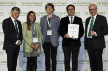 A group photo of Chris Yiu (2nd from right) from CUHK CSLDS and members of Zero Project 2020 organising committee.