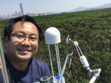 黎育科教授在米埔設置渦度相關通量塔。