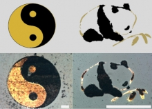 Examples of double metal (platinum and gold) printing. Left: taichi double fish pattern, right: panda. (The scale bar represents 50um.)