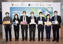 (From left) Professor Martin D.F. WONG, Dean, Faculty of Engineering, CUHK, Mrs. Eunice CHAN, Chief Operating Officer, Hang Seng Bank Ltd., Professor Lin ZHOU, Dean, CUHK Business School, Professor Rocky S. TUAN, Vice-Chancellor and President, CUHK, Mr. Joseph CHAN, JP, Under Secretary for Financial Services and the Treasury Bureau, Ms. Rebecca PUN, JP, Commissioner for Innovation and Technology, and Professor Benny Chung-ying ZEE, Director, Office of Research and Knowledge Transfer Services.