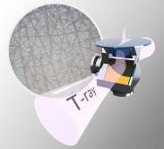 研究团队研发用以全面剖析皮肤的双棱镜椭圆光度计的设计模拟图,圆形区域则显示皮肤的显微镜成像。